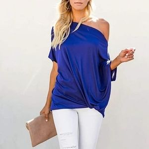 New Oversized Off Shoulder Twist Knot Blouse Top